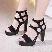 高跟鞋 羅馬涼鞋女2020夏高跟鞋露趾粗跟防水台大碼41-43T台模特走秀涼鞋 茱莉亞