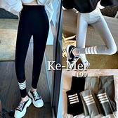 克妹Ke-Mei【AT70246】韓國重磅推薦!高彈力萊卡三槓黑白撞色內搭褲