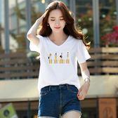 夏季新款白色t恤女短袖印花寬鬆上衣韓版半袖百搭打底衫學生   檸檬衣舍