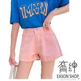 EASON SHOP(GU6906)實拍韓國不敗款純色卷邊反摺高腰牛仔短褲女熱褲女夏季寬鬆彈力修身寬褲S-XL