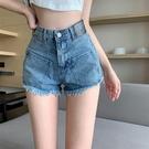 高腰 牛仔短褲女 2021年 新款 夏季 直筒 顯瘦 毛邊褲子 辣妹 百搭 A字熱褲