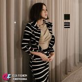 外套裙裝 拉鍊式連帽外套+魚尾裙套裝 艾爾莎【TAK6158】