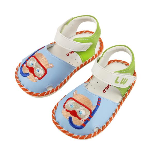【愛的世界】蛙鏡熊寶寶鞋/學步鞋(淺藍色)-台灣製---夏出清童鞋