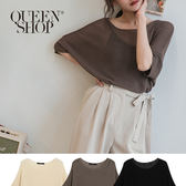Queen Shop【01012319】亞麻微透針織上衣 三色售*現+預*