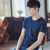 男士短袖t恤打底衫圓領純色體恤純白色黑色修身半袖夏季男裝衣服