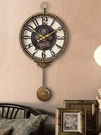 創意掛鐘歐式復古客廳家用臥室個性壁掛件裝飾搖擺時鐘表掛墻美式 小山好物