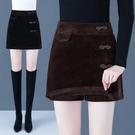 燈芯絨短褲女2021新款高腰外穿褲裙顯瘦百搭假兩件短裙半身裙 快速出貨