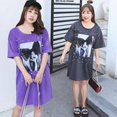 中大尺碼~大蝴蝶結裝飾時尚女孩印花短袖洋裝(XL~4XL)