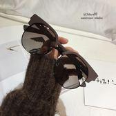 雙十二狂歡購茶色墨鏡潮人眼鏡不規則圓形半框太陽鏡偏光大框墨鏡