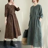 洋裝 棉麻長袖洋裝女秋裝大碼寬鬆文藝碎花收腰系帶打底長裙-Milano米蘭