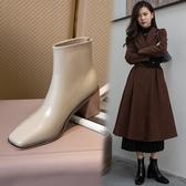 真皮女鞋34-40 2020新款英倫風帥氣百搭牛皮後拉鍊方頭高跟馬丁靴靴 短靴子 ~2色