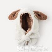 兒童帽子男寶寶護耳帽男童女童帽秋冬季嬰幼兒圍巾圍脖一體嬰兒帽 鹿角巷