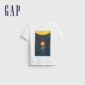 Gap男童 純棉創意印花短袖T恤 683398-白色