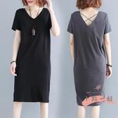 大尺碼洋裝 大碼女胖妹妹mm腰粗遮肚連衣裙寬鬆減齡露背T恤裙夏裝新款2020 LW418