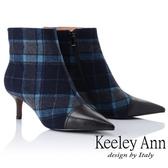 2018  _Keeley Ann 率性街頭 格紋拼接尖頭細跟靴黑色Ann 系列