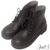 Ann'S經典份量-全黑綁帶圓頭厚底短靴-黑