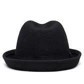 爵士帽-純色簡約英倫復古捲邊羊毛男女禮帽71k88【巴黎精品】