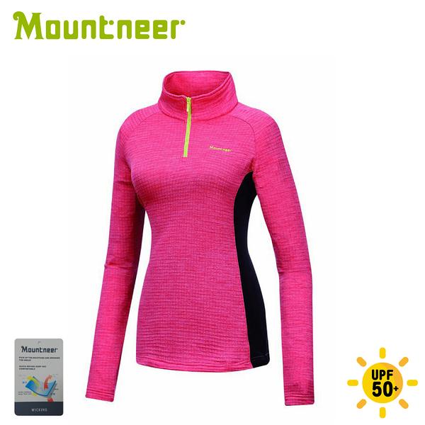 【Mountneer 山林 女雲彩針織保暖上衣《深玫紅》】32P20/休閒長袖/保暖長袖
