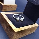 戒指 925純銀珍珠-螺旋造型生日情人節禮物女開口戒73ic20【時尚巴黎】