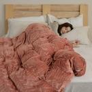 法蘭絨兩用被套床包組 加大【Pumpkin + 米杏】台灣製 法蘭絨 床包 翔仔居家