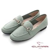 【CUMAR】復刻車格鑽飾方頭樂福平底鞋(深綠色)