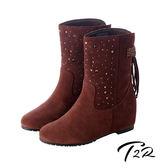 【韓國T2R】真皮手感鞋面點綴亮飾隱形內增高靴 ↑7cm 咖(5600-0086)
