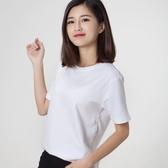 短袖T恤 女新款ins潮圓領寬鬆黑色半袖打底衫純色純棉 - 雙十二交換禮物