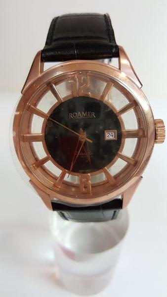 ROAMER-手動上鍊機械錶-簍空金黑色錶帶