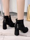 高跟鞋 加絨百搭秋冬天高跟鞋女水臺粗跟齊踝短靴厚底翻毛皮短靴 唯伊時尚