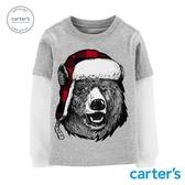 【美國 carter s】冬季北極熊假兩件長袖上衣(6-8)-台灣總代理
