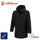 【Wildland 荒野 男 長版防水可脫帽時尚外套《黑》】0A72906/風雨衣/防水外套/大衣