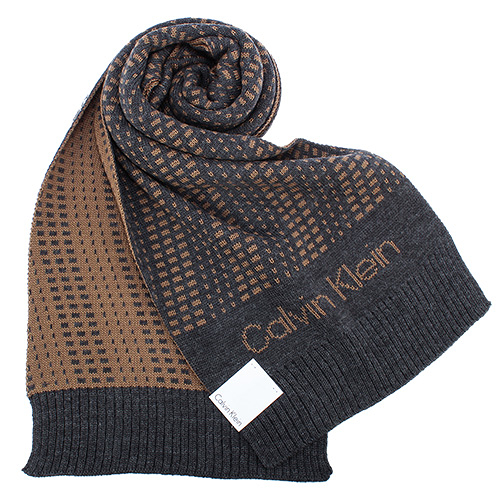 Calvin Klein新款CK雙色編織LOGO圍巾(深灰色)103212-5