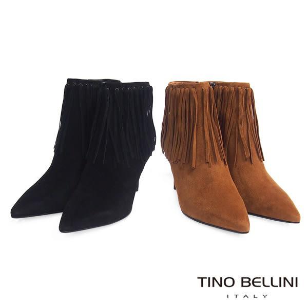 Tino Bellini性感復刻風情流蘇高跟短靴(棕)_VI1229  2015AW