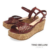 Tino Bellini巴西進口幾何鏤空繫帶楔形涼鞋_ 深咖 C73402 歐洲進口款