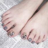 指甲貼 穿戴式假腳指甲貼片持久美甲成品可拆卸防水腳趾甲貼摘戴甲片滿鉆 交換禮物