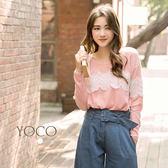 東京著衣【YOCO】慵懶韓風睫毛蕾絲拼接毛織上衣-S.M(4025934)