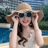 草帽女夏天可折疊沙灘帽子海邊度假遮陽防曬帽休閑百搭大檐太陽帽gogo購