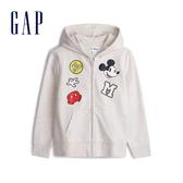 Gap女童 Gap x Disney 迪士尼系列米奇印花連帽外套 551230-米灰色