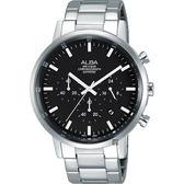 ALBA雅柏 Prestige 街頭酷流行計時男錶-黑x銀/42mm VD53-X296D(AT3D33X1)