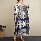 中大尺碼洋裝 2021夏季新款文藝大碼棉麻花色寬鬆顯瘦減齡中長款短袖連身裙女裝