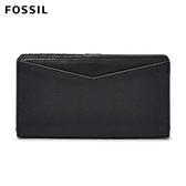 ↖400折價券 現領現折↘ FOSSIL Caroline  黑色多夾層真皮RFID壓扣長夾