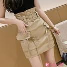 休閒短裙 2021年夏季新款高腰休閒顯瘦短裙a字工裝小個子包臀花苞半身裙女 小天使 99免運