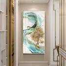 玄關裝飾畫豎版入戶走廊輕奢掛畫發財樹鹿招財現代簡約過道壁畫