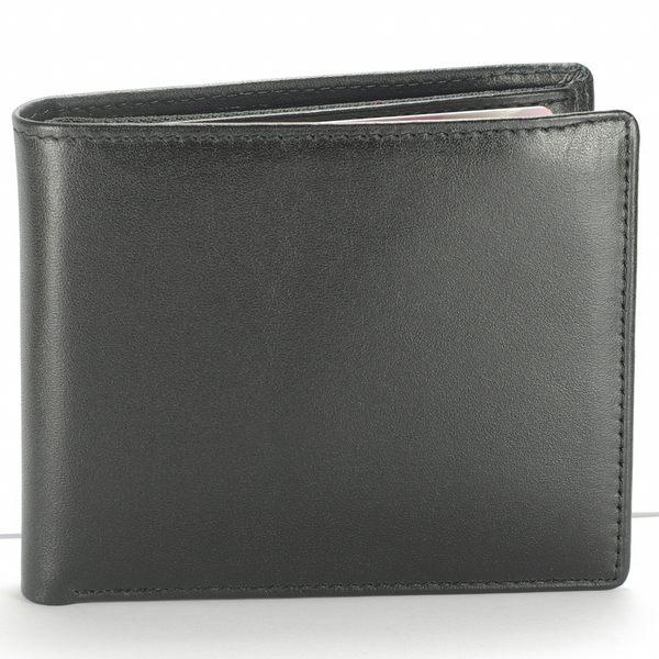 典雅男短夾真皮皮夾8卡零錢袋 黑色 付費客製刻字服務