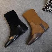 襪靴女 英倫風復古尖頭平底短靴