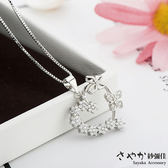 【Sayaka紗彌佳】925純銀愛心蝴蝶造型鑲鑽項鍊