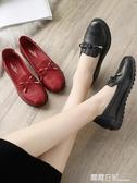 媽媽鞋單鞋2019新款中老年女鞋舒適軟底平底奶奶中年老人皮鞋秋季 露露日記