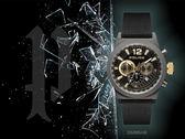 【時間道】POLICE粗曠型男三眼計時腕錶 / 黑面槍色錶殼黑皮帶(15529JSU-02)免運費