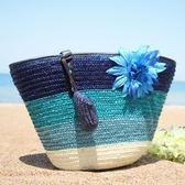 草編包夏季新款花朵女包編織包大包包草編包沙灘包側背 貝芙莉女鞋