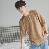 亞麻短袖男夏季新款韓版寬鬆圓領學生棉麻上衣純色百搭半袖衫 QQ976『愛尚生活館』